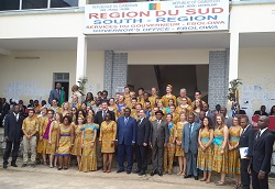 U.S. Ambassador to Cameroon Michael Hoza swore in 49 new volunteers in Cameroon