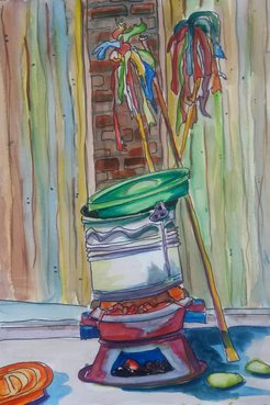 Random items stacked in a colorful watercolor composition