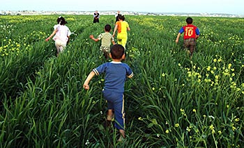 children run and play in the vast verdant fields in Jordan