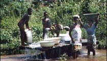 The local villagers of Dogbo Ahome are collecting water for their household needs at the town pump in the wetlands.