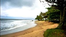 This is part of the beach at Kribi, in Cameroon. The president of Cameroon has a home where he sometimes stays on this beachfront.