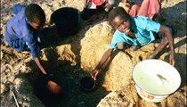 Children with calabashes at the mayo (river) scoop water out of holes that have been dug in the sandy riverbed.