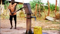Because there is no loca plumbing system, farmers must bring their drinking water with them to the fields. Baba Jallow will take to the fields the water he is pumping for the hard-working farmers to drink.