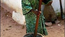 Today, 14-year-old Nene Jallow pounds rice and peanuts to make churrah gerte, or rice porridge. Usually the women pound millet, a staple grain, building great strength as they perform this task.