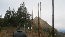 The four posts in the air. The concrete had to dry a day or so before the nets were attached.